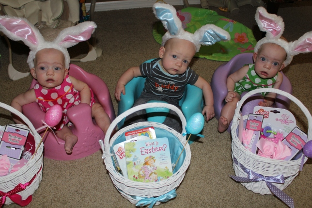 YaYa got the babies Easter baskets. The babies are the ones with the bunny ears, by the way. =)