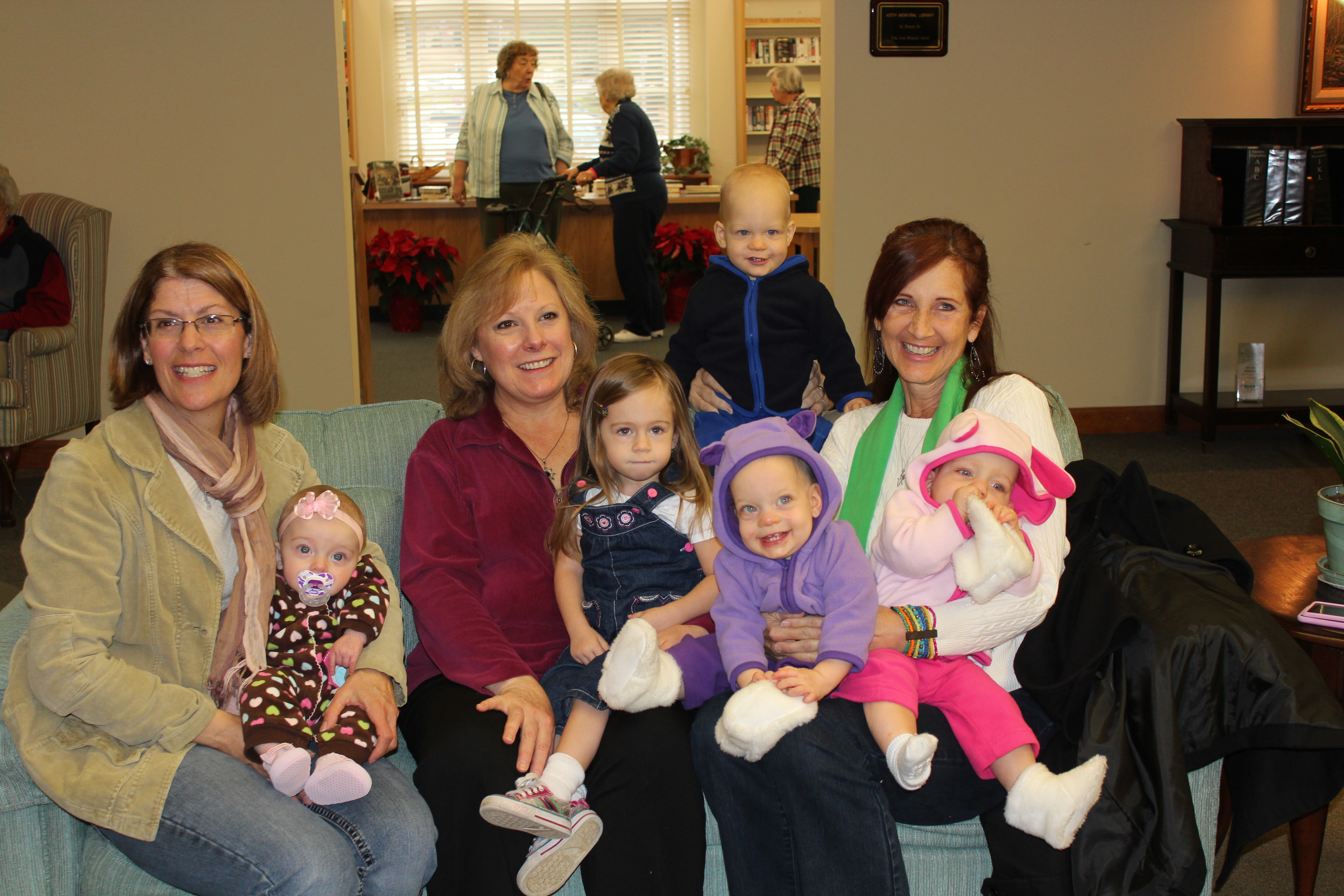 My Aunt List, Aunt Charlene and mom - with all their grandbabies!